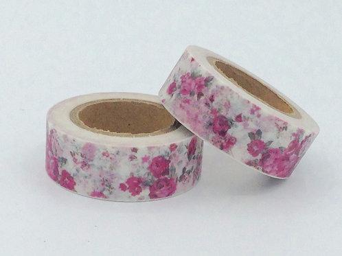 W232-  Masking tape blanc fleurs roses fun  enfant design 15mm