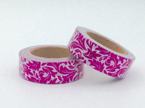 F043 - Masking tape foil motif fleurs rose