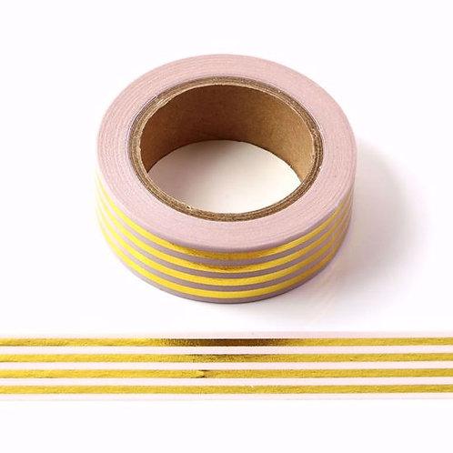 F107 - Masking tape métallique 15mm foil rose pâle rayures dorées