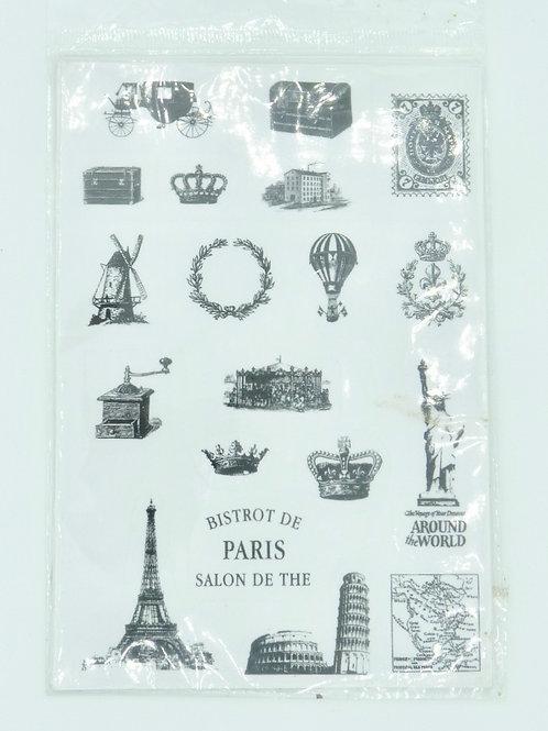 STI01 - 2 Planches de stickers rétro noir et blanc Paris