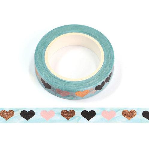 Masking tape métallique coeurs multicolores 10mm x 10m
