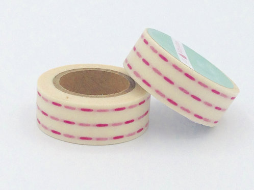 W215-  Masking tape blanc traits rose fuchsia fun  enfant design  15m