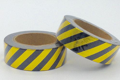 F021 - Masking tape doré rayures noires
