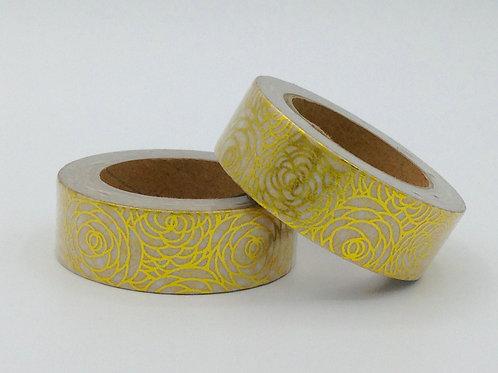 F005 - Masking tape Foil Fleurs Dorées
