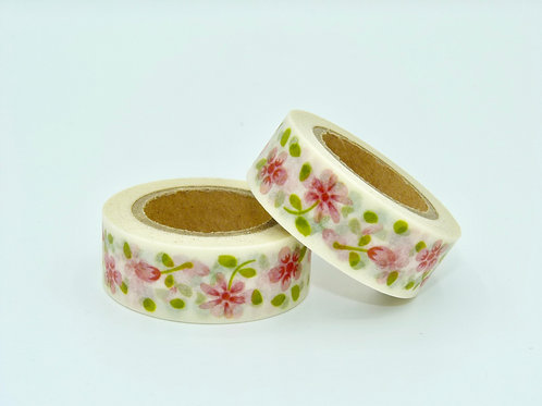 W123-  Masking tape floral feuilles roses design  15m