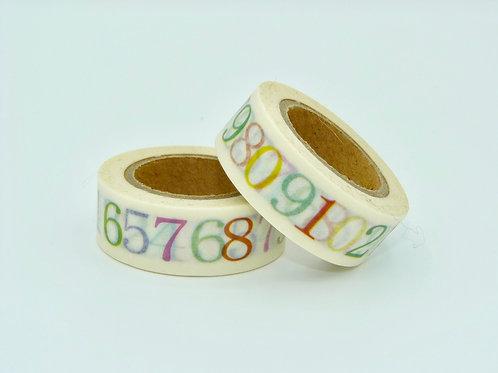 W130 -  Masking tape chiffres colorés design  15mm x