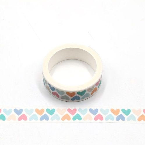 Masking tape coeurs multicolores 5m W490