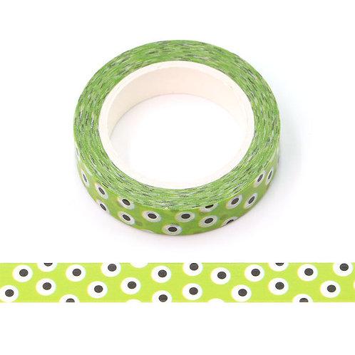 Masking tape 15 mm motif vert yeux Halloween