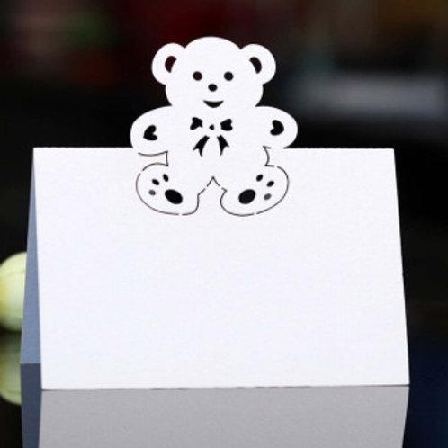 20 marque- places  blancs cartonnés forme nounours
