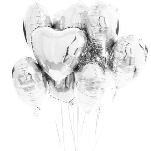 Ballon aluminium  mylar coeur argent - remplissage hélium