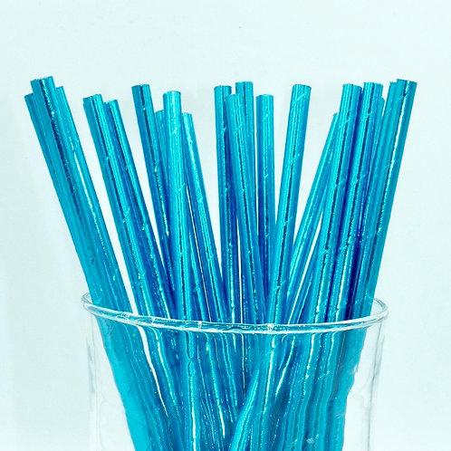 25 pailles papier bleu métallique