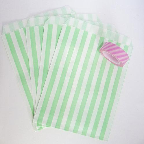 Lot de 12 sachets papiers vert clair rayures verticales candy bar