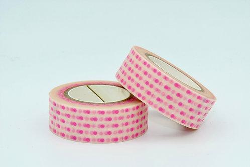 W042 - Masking tape blanc pois rose fluo