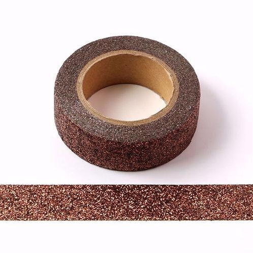 G046 - Masking tape 15mm paillettes marron glacé glitter
