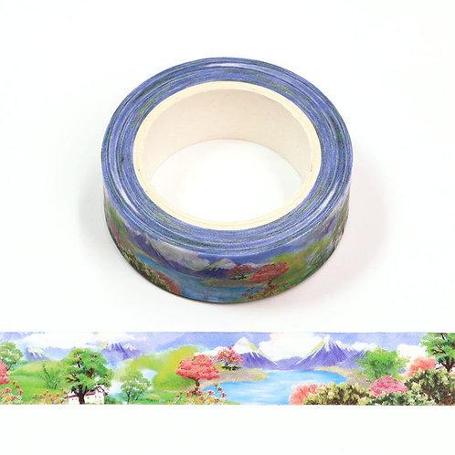 Masking tape motif paysage japonais 15mm x 10m