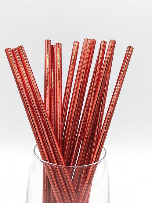 25 pailles papier rouge métallique