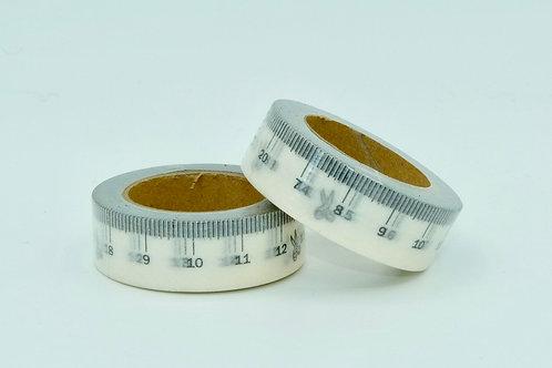 W164-  Masking tape noir mètre couture blancs  design  15mm