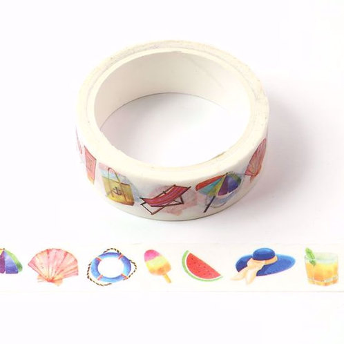 Masking tape plage glace bouée coquillage 15mm x 5m