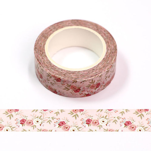 Masking tape 15 mm motif roses anciennes