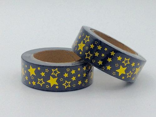 F023- Masking Tape Noir étoiles dorées