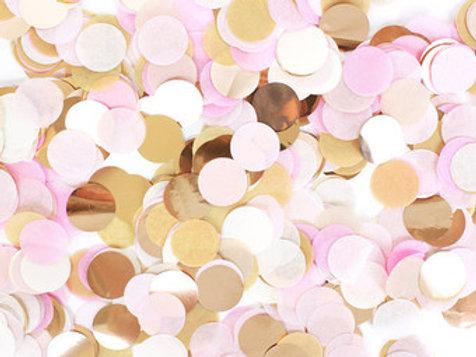 Confettis rose or blanc 2,5 cm gender reveal mariage fête décoration ba