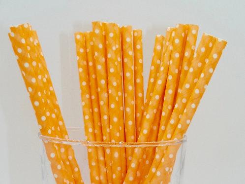 25 pailles papier orange pois blanches anniversaire garçon candy