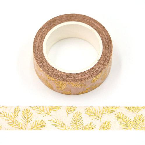 Masking tape  métallique 15 mm motif aiguilles de pin dorées