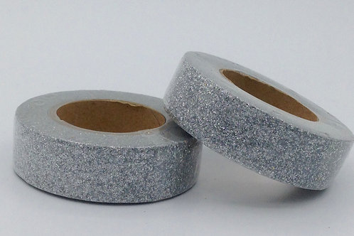G045 - Masking tape paillettes glitter argent métallique