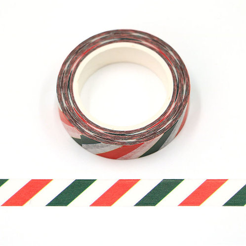 Masking tape 15 mm motif rayures rouges vertes et blanches
