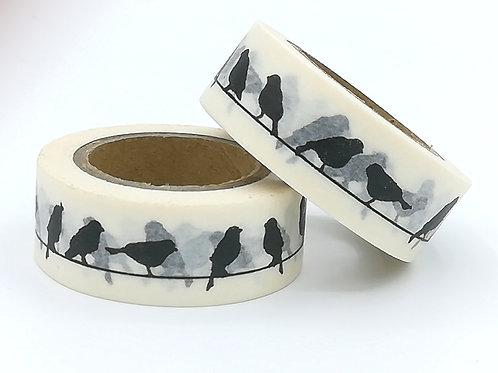 W337 - masking tape oiseaux Noir/Blanc