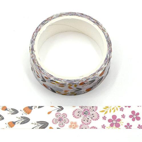 W578 - Masking tape 15 mm motif fleurs violettes