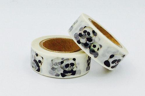 W341-  Masking tape panda noir et blanc design  15mm