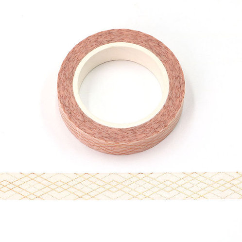 Masking tape  métallique 15 mm motif quadrillage doré