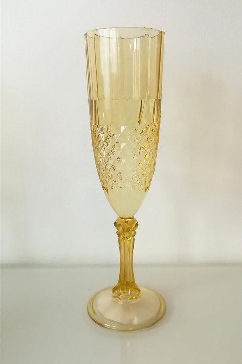 Flutes de champagne dorée en acrylique - reutilisables