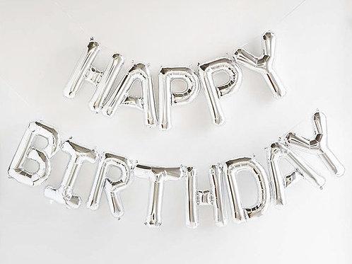 Pack bannière ballons mylar 13 lettres  HAPPY BIRTHDAY 40 cm argent