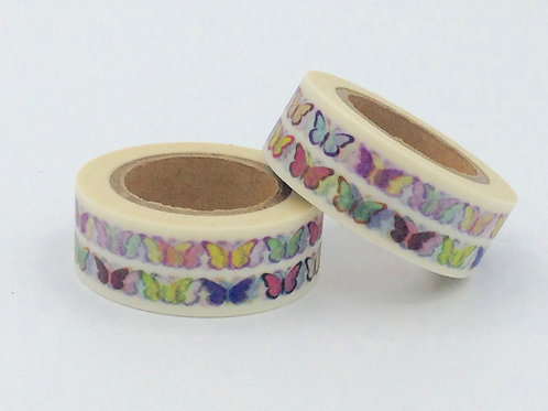 W221-  Masking tape blanc papillons colorés fun  enfant design 15mm