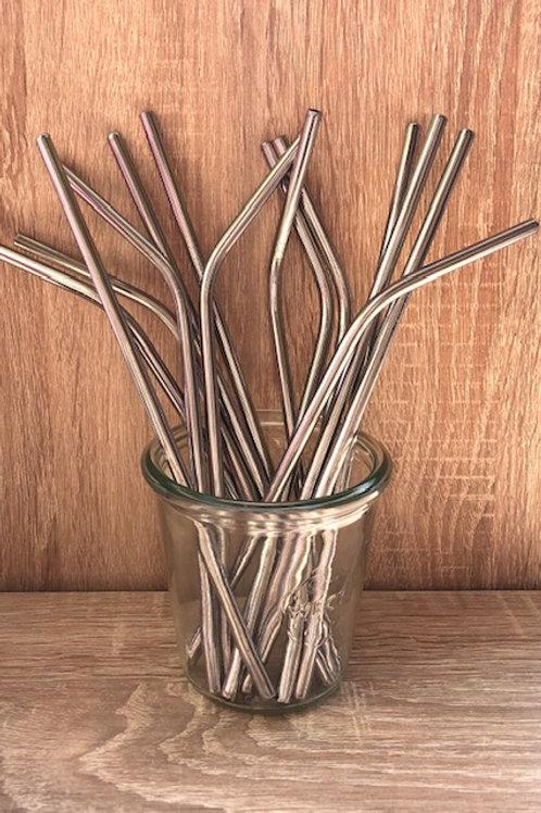 4 Pailles inox argent 21 cm, courbées ou droites, zéro déchet