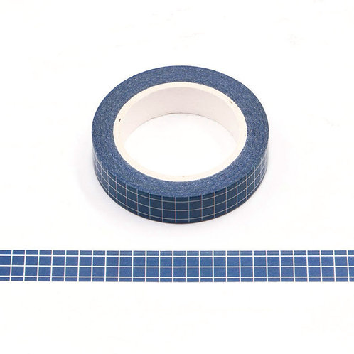 W503 - Masking tape 10m grille planner bleu foncé