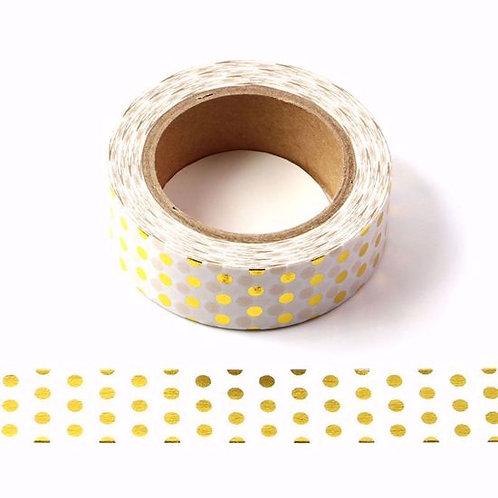 F014 - Masking tape métallique 15mm  foil pois dorés