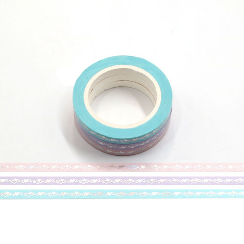 Pack de 3 masking tape fins coeurs pastels - 5 mm x 10 m