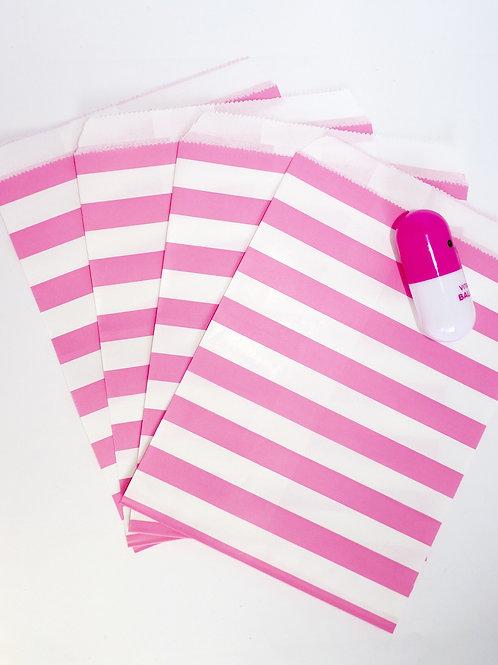 Lot de 12 sachets papiers blanc rayures rose fuschia candy bar