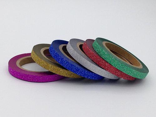 G032 - Lot de 6 Masking tape paillettes 5mm x 10m  glitter