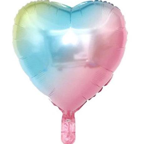 Ballon aluminium  mylar coeur arc en ciel - remplissage hélium