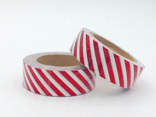 F039 - Masking tape foil blanc rayures rouges