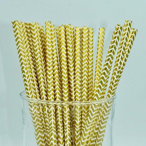25 pailles papier blanc chevrons doré métallique anniversaire
