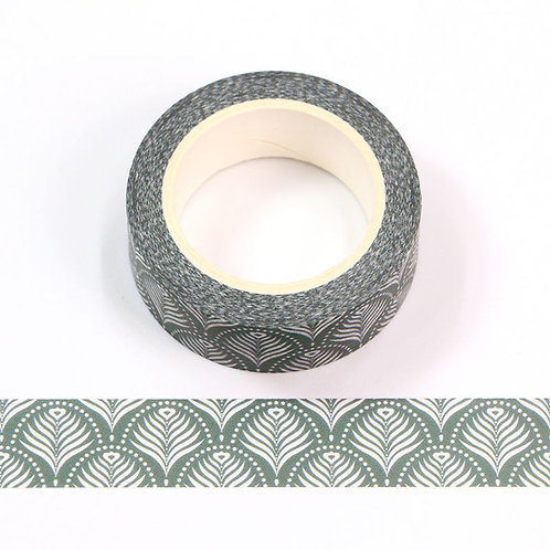 Masking tape 15 mm motif feuilles de palmier