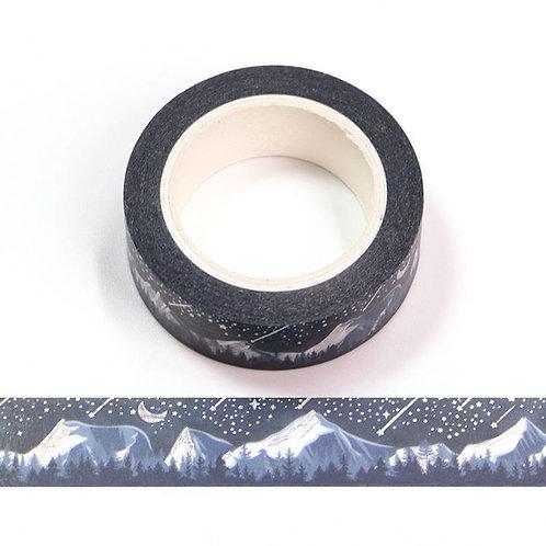 F180 - Masking tape métallique motif montagnes de nuit