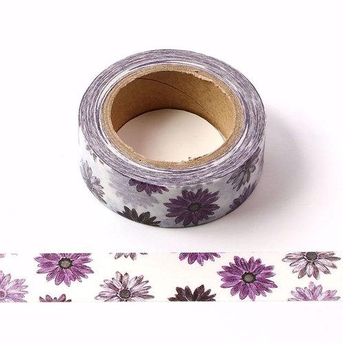 W547 - Masking tape 15 mm motif chrysanthème violet