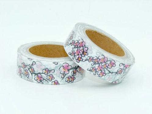 F102- Masking tape foil blanc fleurs cerisiers rosesI Japanese cherry tree washi