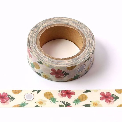 Masking tape ananas fleurs jungle15mm x 10m